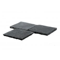 Pavé en pierre naturelle vieillie noire 20 x 20 x 2 cm