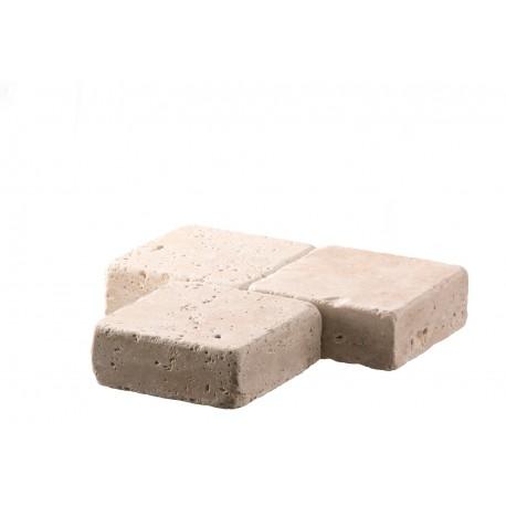Pavé en pierre naturelle travertin 10 x 10 x 4 cm trio