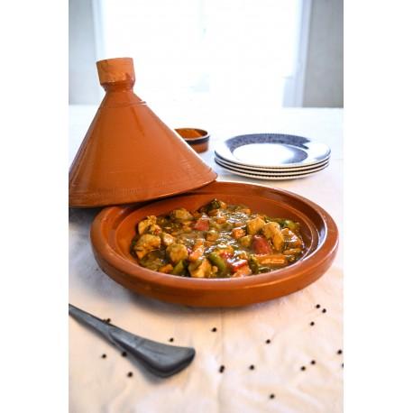 Plat tajine de cuisson en terre cuite 34 cm