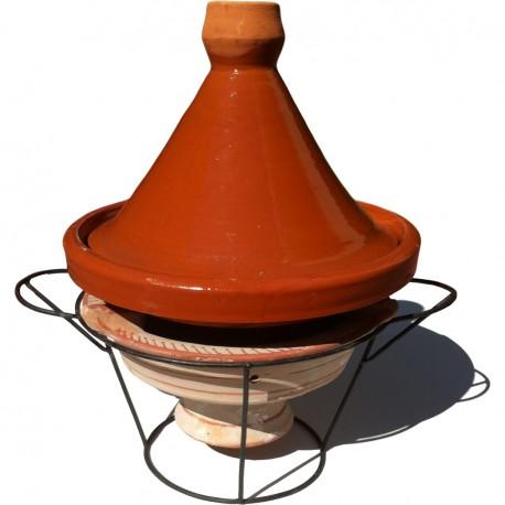 Plat tajine de cuisson en terre cuite 34 cm et son brasero H.19,5 cm