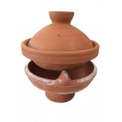 Plat tajine terre cuite décoré 26 cm et son brasero sans armature