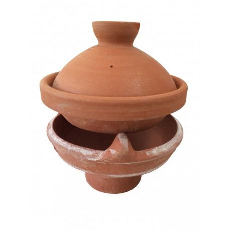 Plat tajine terre cuite d cor 26 cm et son brasero sans - Plat tajine terre cuite ...