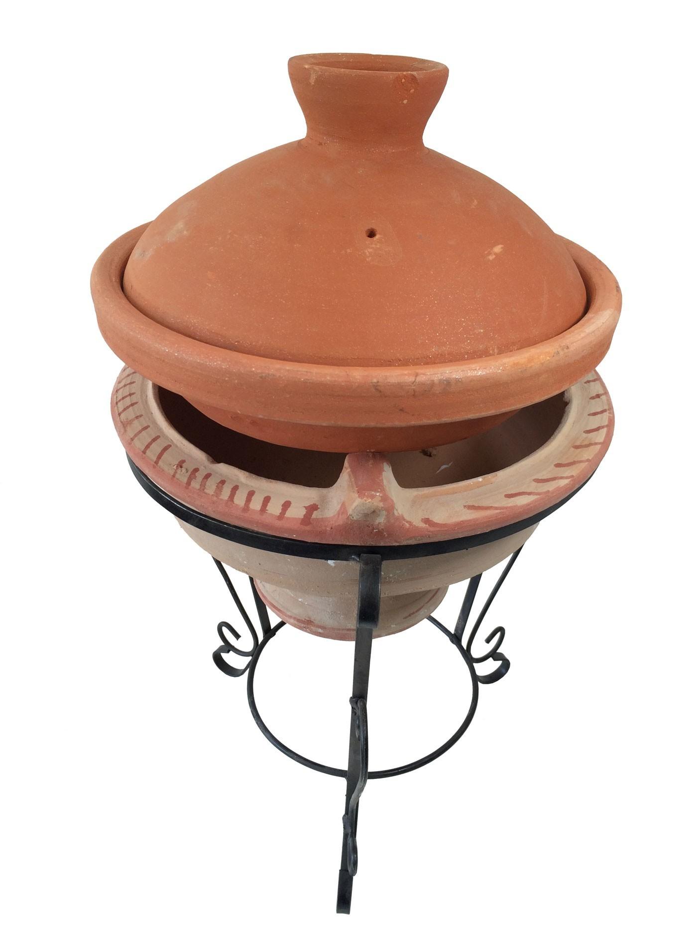 Plat tajine terre cuite d cor diam 30 et son brasero cm - Tajine en terre cuite ...