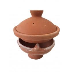 Plat tajine terre cuite décoré 30 cm et son brasero sans armature