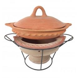 Plat tajine de cuisson en terre cuite tagra 33 cm et son brasero H.19,5 cm