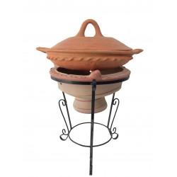 Plat tajine de cuisson en terre cuite tagra 33 cm et son brasero H.36 cm