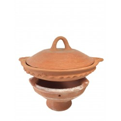 Plat tajine de cuisson en terre cuite tagra 33 cm et son brasero sans armature