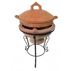 Plat tajine de cuisson en terre cuite tagra 29 cm et son brasero H.36 cm