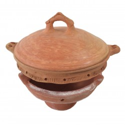 Plat tajine de cuisson en terre cuite tagra 29 cm et son brasero sans armature
