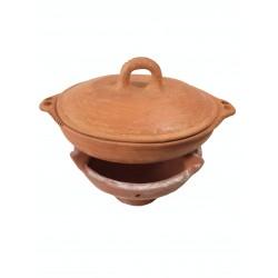 Plat tajine terre cuite tagra ovale et son brasero sans armature