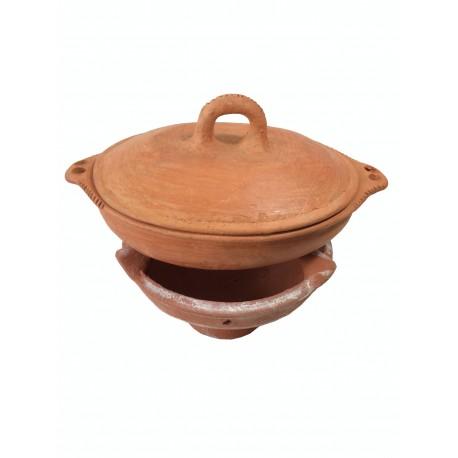 Plat tajine de cuisson en terre cuite tagra ovale et son brasero sans armature