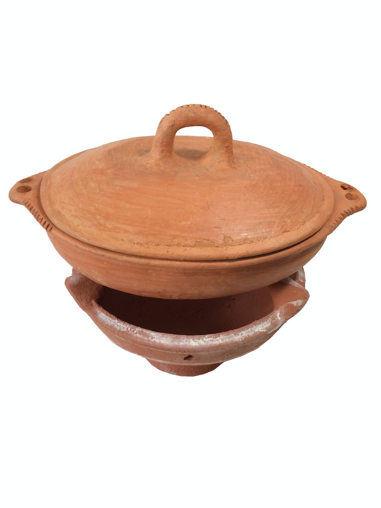 Plat tajine terre cuite tagra ovale et son brasero sans armature - Plat a tajine en terre cuite ...