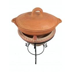 Plat tajine de cuisson en terre cuite tagra ovale et son brasero H.36 cm
