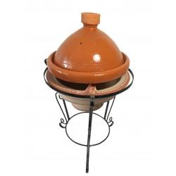 Plat tajine de cuisson en terre cuite vernissé 27 cm et son brasero h.36 cm