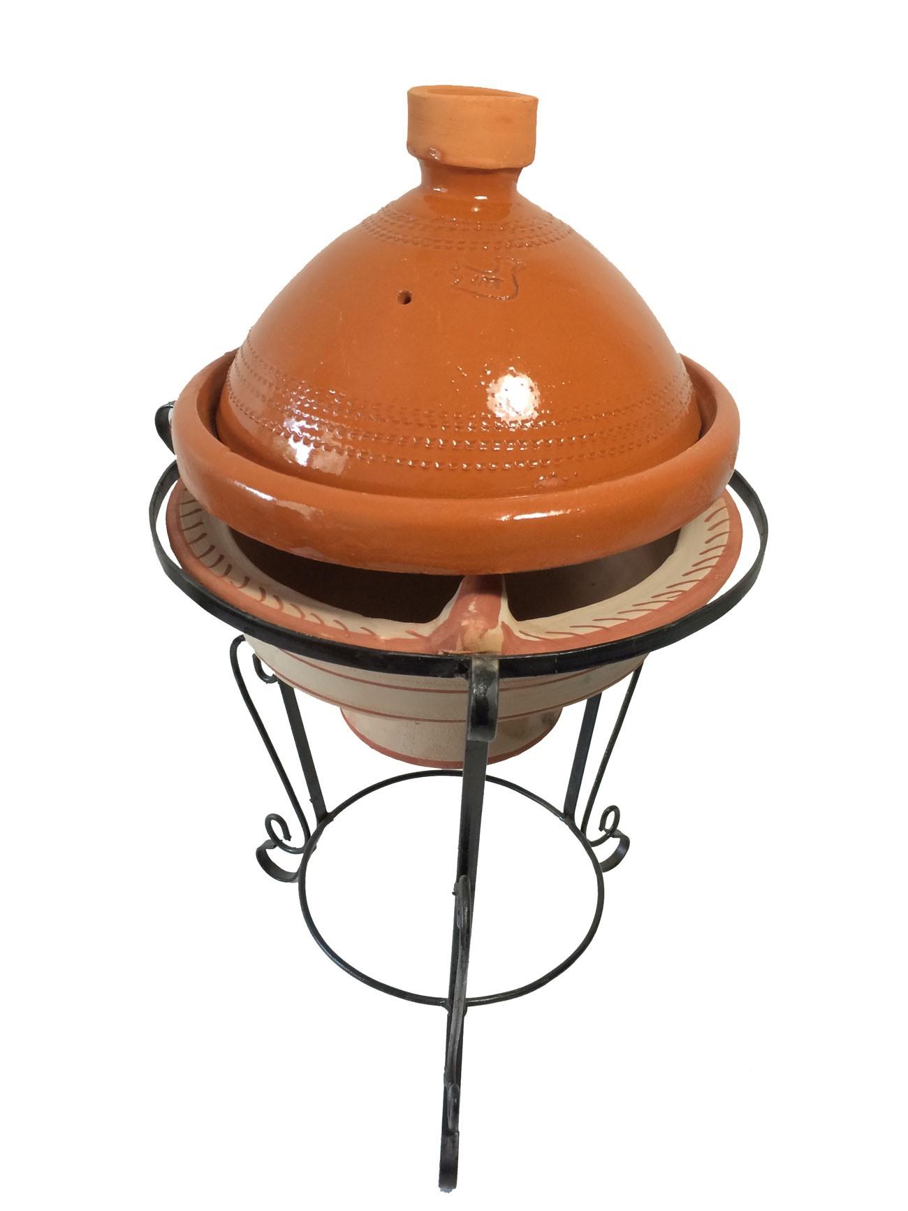 Plat tajine en terre cuite verniss 27 cm et son brasero cm - Plat a tajine en terre cuite ...