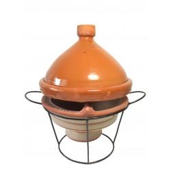 Plat tajine de cuisson en terre cuite vernissé 31 cm et son brasero H.19,5 cm