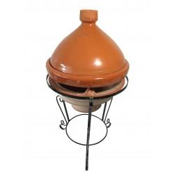 Plat tajine de cuisson en terre cuite vernissé 31 cm et son brasero H. 36 cm