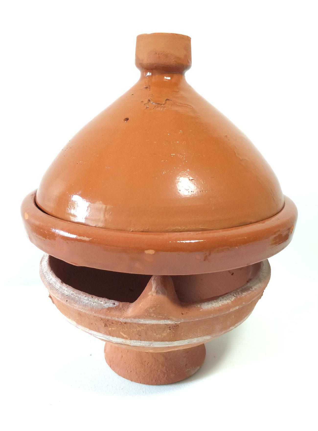Plat tajine en terre cuite verniss 31 cm et son brasero - Plat tajine terre cuite ...