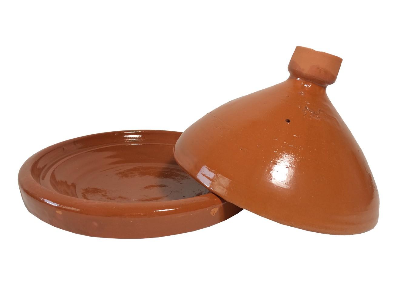 Plat tajine en terre cuite verniss 31 cm et son brasero sans armature - Plat a tajine en terre cuite ...