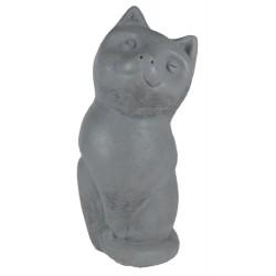 Statue en pierre reconstituée en forme de chat gris anthracite