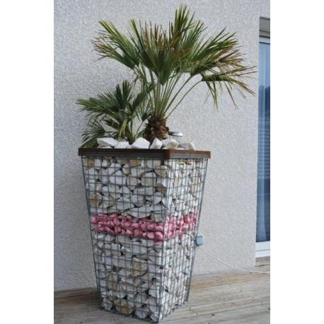 Jardinière en acier conique gabion 60 x 60 x 100 cm avec galets