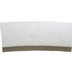 Margelle de piscine en pierre reconstituée bouchardée plate courbe 46,5 x 40 x 4 cm blanc
