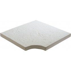 Margelle de piscine en pierre reconstituée bouchardée plate angle rentrant 40 x 40 x 4 cm blanc