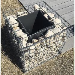 Jardinière en acier carrée gabion 50 x 50 x 50 cm avec galets