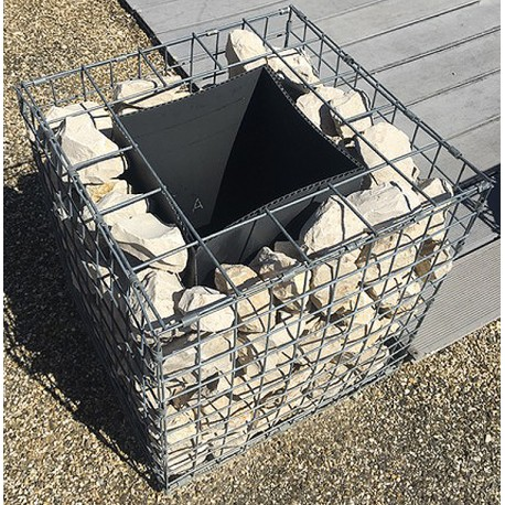 Jardinière carrée gabion 50 x 50 x 50 cm avec galets