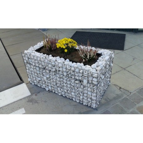 Jardinière en acier rectangulaire gabion 100 x 50 x 50 cm avec galets