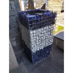 Jardinière en acier carrée gabion 50 x 50 x 100 cm avec galets