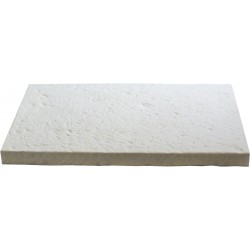 Margelle de piscine en pierre reconstituée bouchardée plate droite 60 x 40 x 4 cm blanc