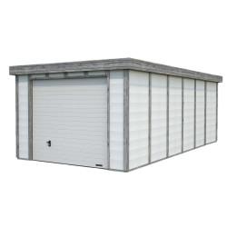 Abri de jardin en béton ELYA 19,66 m2 graphite blanc