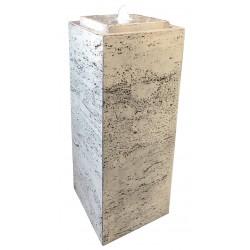 Fontaine de jardin en béton fibré Pillar 35 x 35 x 75 cm blanc