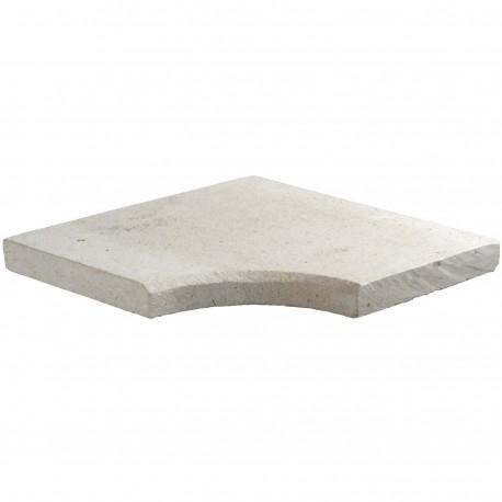 Margelle en pierre naturelle bord chanfreiné angle rentrant 38 x 38 x 3 cm