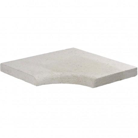 Margelle en pierre naturelle bord quart de rond angle rentrant 38 x 38 x 3 cm