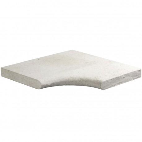 Margelle en pierre naturelle bord demi rond angle rentrant 38 x 38 x 3 cm