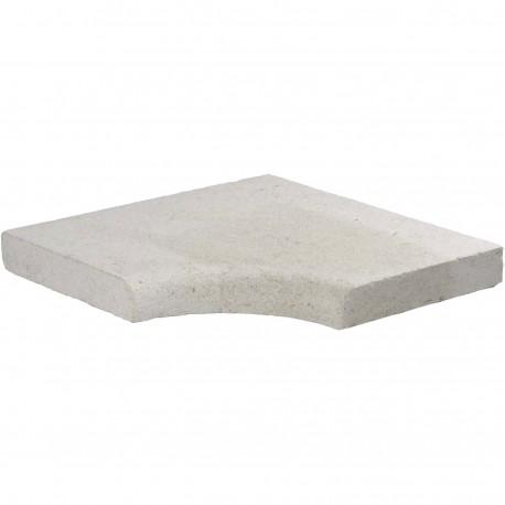 Margelle en pierre naturelle bord quart de rond angle rentrant 38 x 38 x 4 cm
