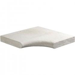 Margelle en pierre naturelle bord demi rond angle rentrant 38 x 38 x 4 cm