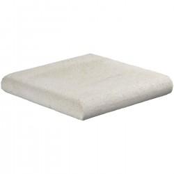 Margelle en pierre naturelle bord demi rond angle sortant 25 x 25 x 4 cm