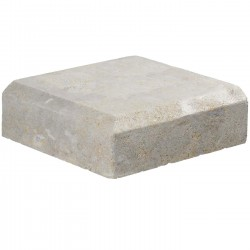 Margelle en pierre naturelle bord chanfreiné angle sortant 25 x 25 x 8 cm