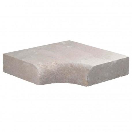 Margelle en pierre naturelle bord quart de rond angle rentrant 38 x 38 x 8 cm