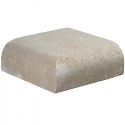 Margelle en pierre naturelle bord quart de rond angle sortant 25 x 25 x 8 cm