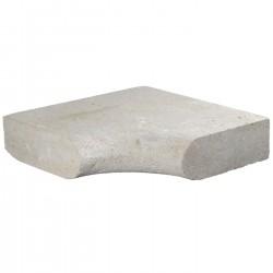 Margelle en pierre naturelle bord demi rond angle rentrant 38 x 38 x 8 cm