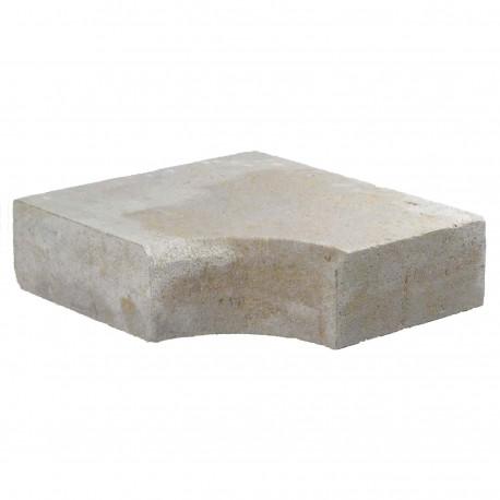 Margelle en pierre naturelle bord chanfreiné angle rentrant 38 x 38 x 12 cm