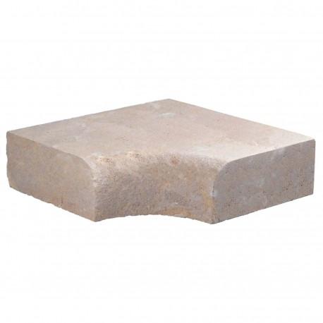 Margelle en pierre naturelle bord quart de rond angle rentrant 38 x 38 x 12 cm