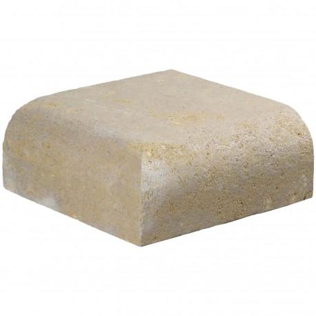 Margelle en pierre naturelle bord quart de rond angle sortant 25 x 25 x 12 cm
