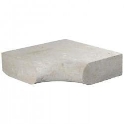 Margelle en pierre naturelle bord demi rond angle rentrant 38 x 38 x 12 cm