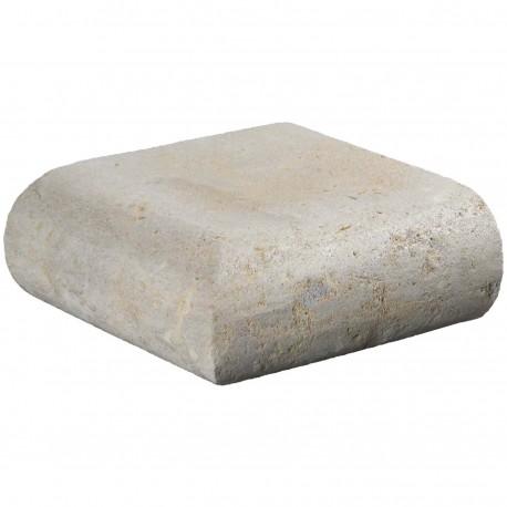 Margelle en pierre naturelle bord demi rond angle sortant 25 x 25 x 12 cm
