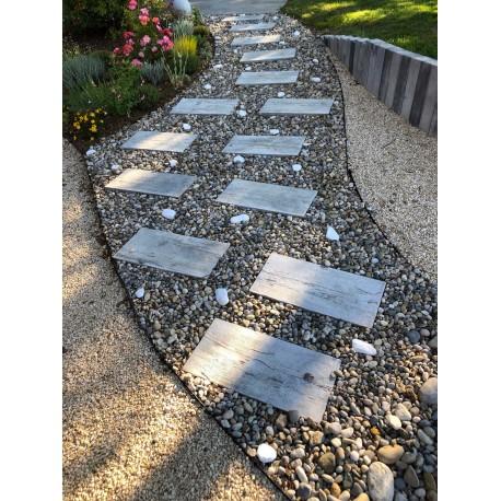 Pas japonais de jardin en pierre reconstituée chêne blanchi 57 x 27 x 3 cm